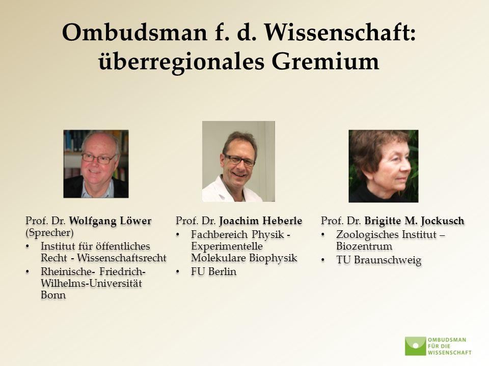Ombudsman f. d. Wissenschaft: überregionales Gremium