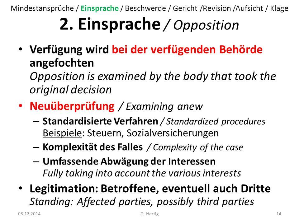 2. Einsprache / Opposition