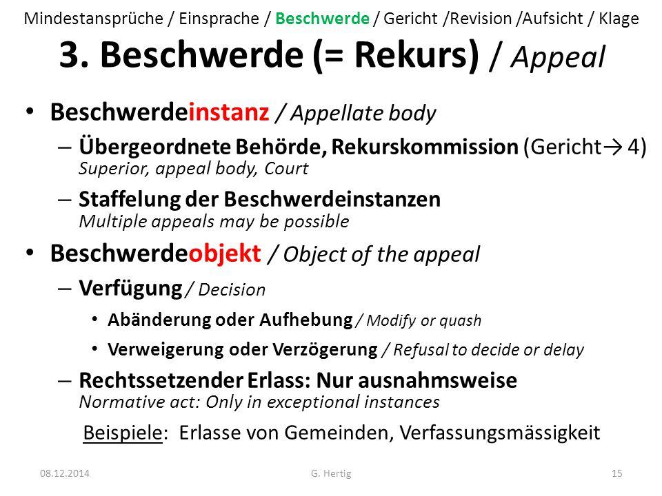 3. Beschwerde (= Rekurs) / Appeal