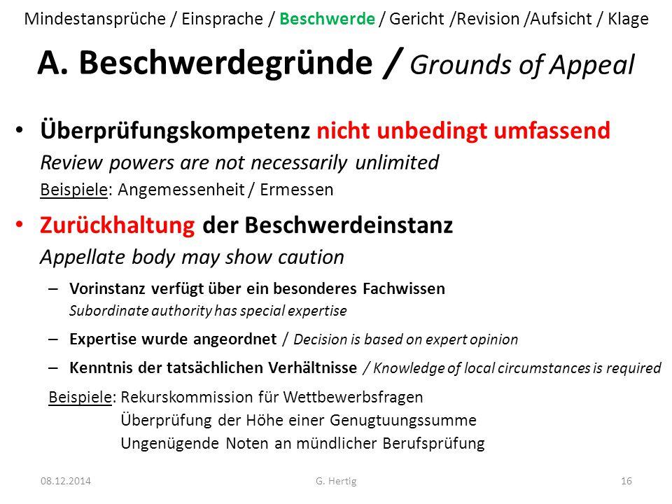 A. Beschwerdegründe / Grounds of Appeal