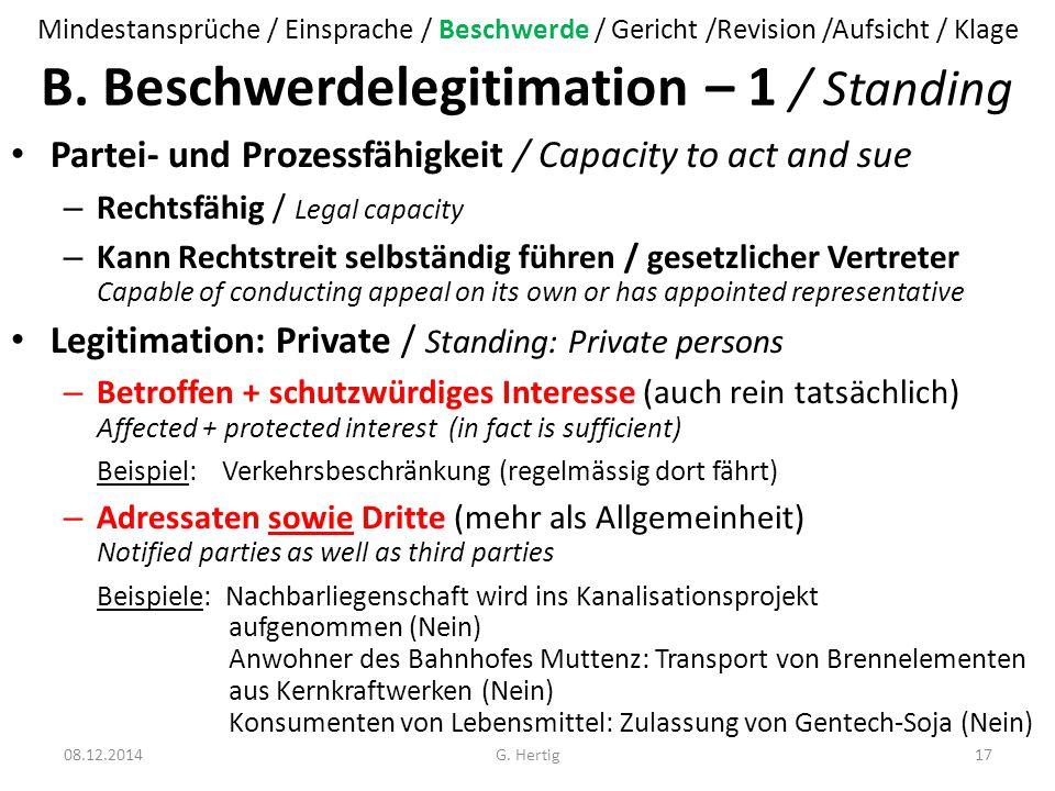 B. Beschwerdelegitimation – 1 / Standing