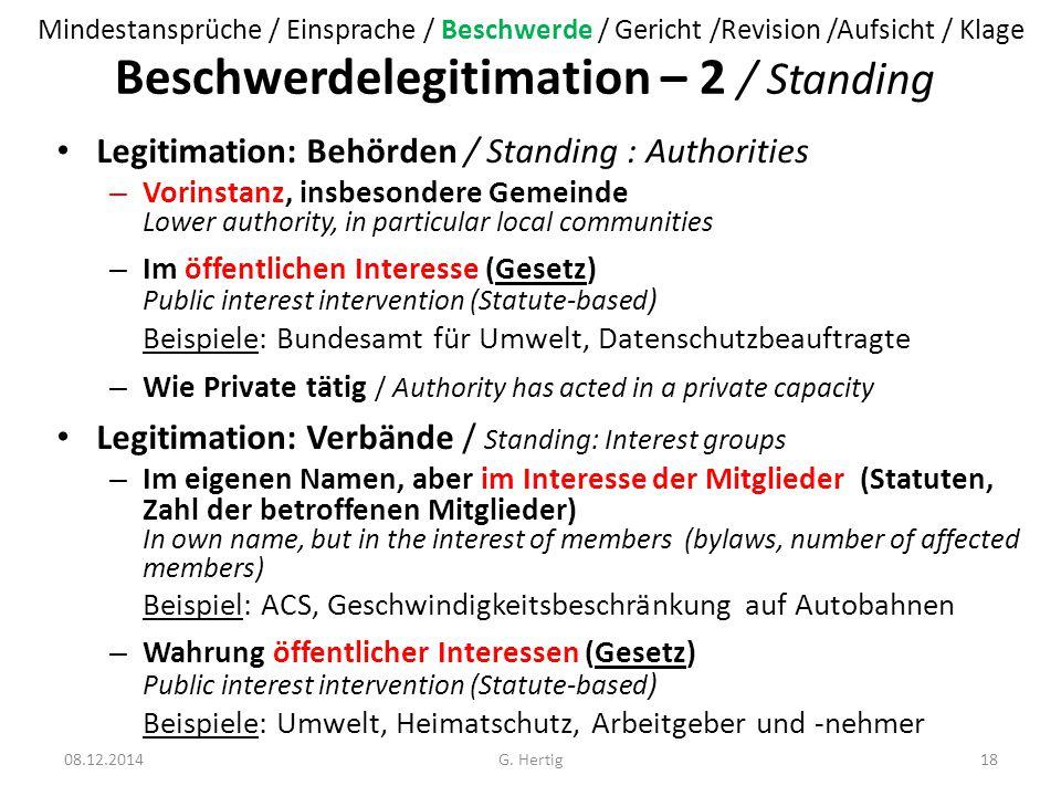 Beschwerdelegitimation – 2 / Standing