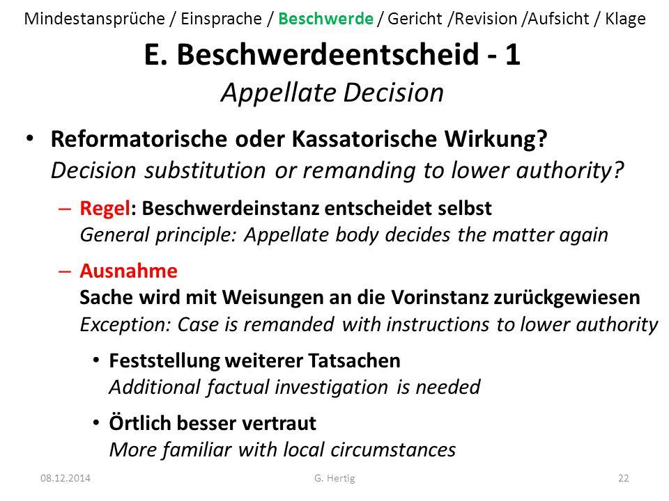E. Beschwerdeentscheid - 1 Appellate Decision