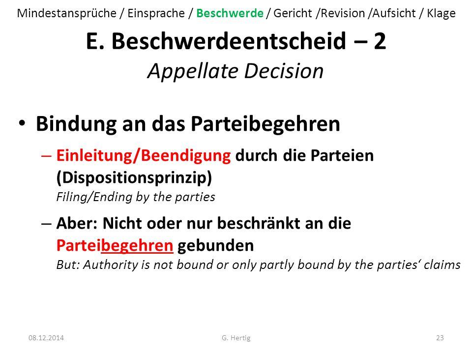 E. Beschwerdeentscheid – 2 Appellate Decision