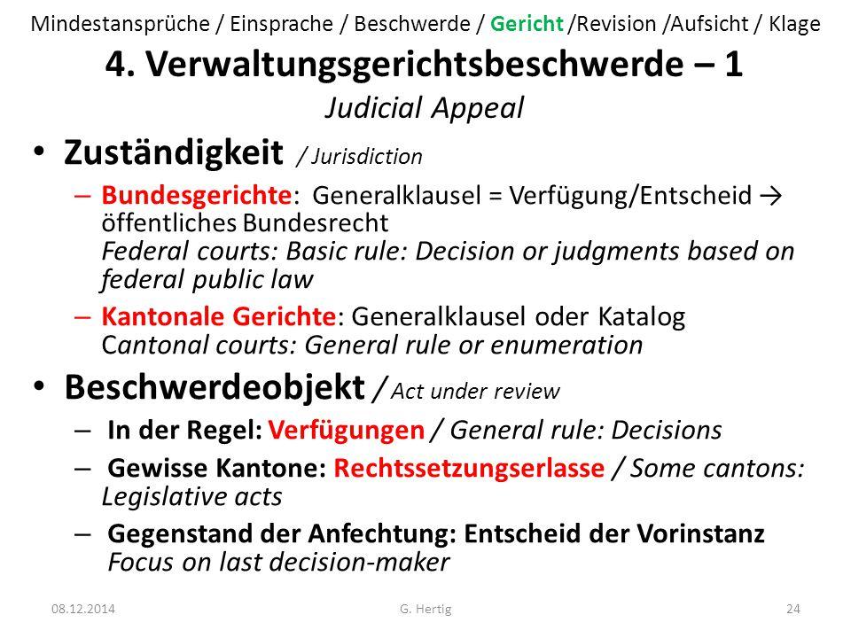 4. Verwaltungsgerichtsbeschwerde – 1 Judicial Appeal