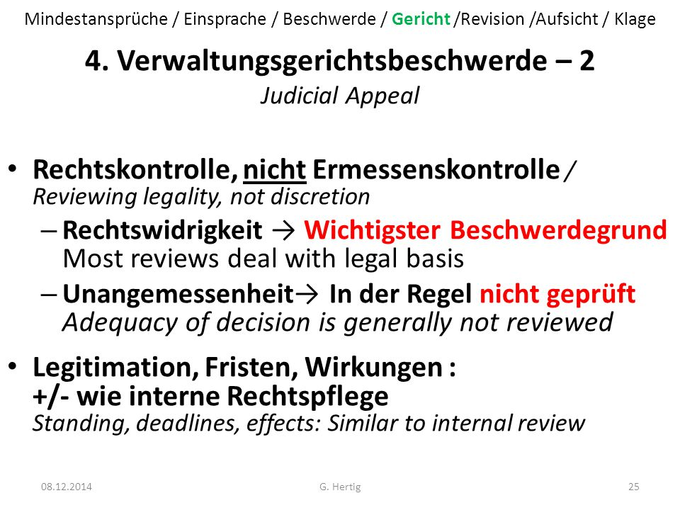 4. Verwaltungsgerichtsbeschwerde – 2 Judicial Appeal
