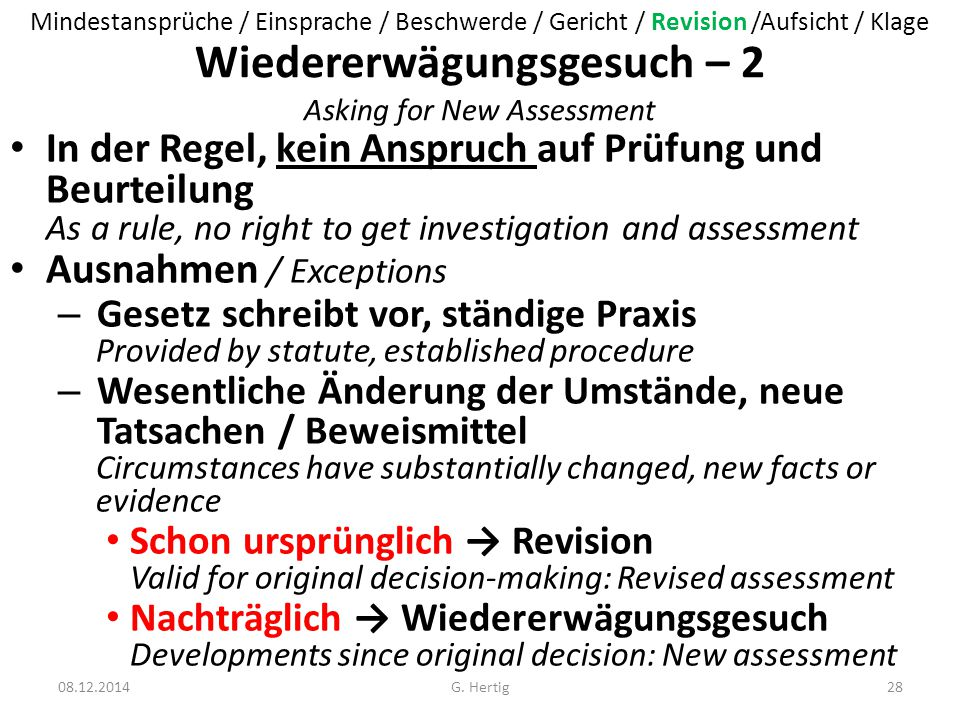 Wiedererwägungsgesuch – 2 Asking for New Assessment