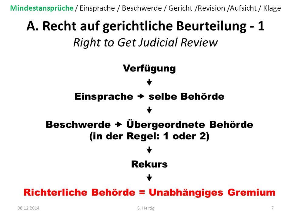 A. Recht auf gerichtliche Beurteilung - 1 Right to Get Judicial Review