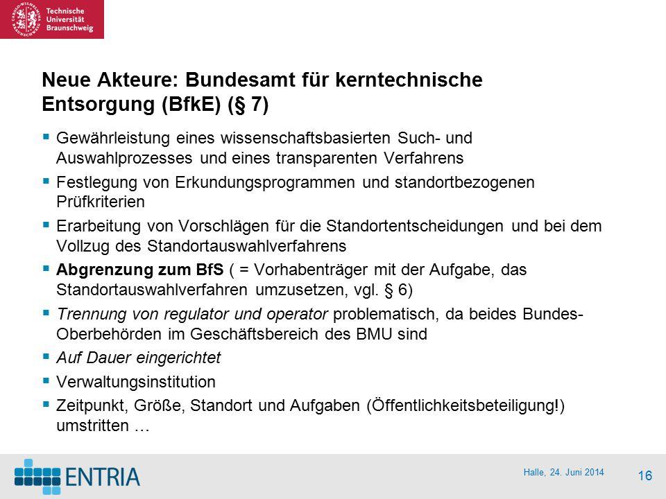 Neue Akteure: Bundesamt für kerntechnische Entsorgung (BfkE) (§ 7)