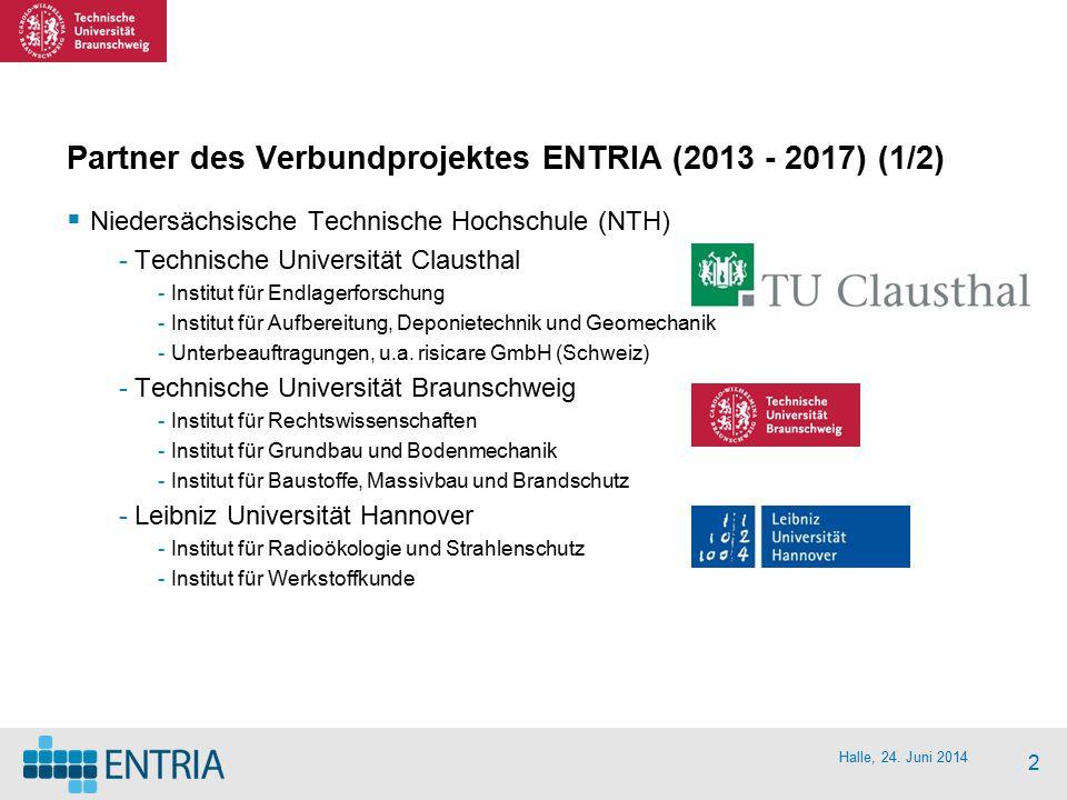 Partner des Verbundprojektes ENTRIA (2013 - 2017) (1/2)