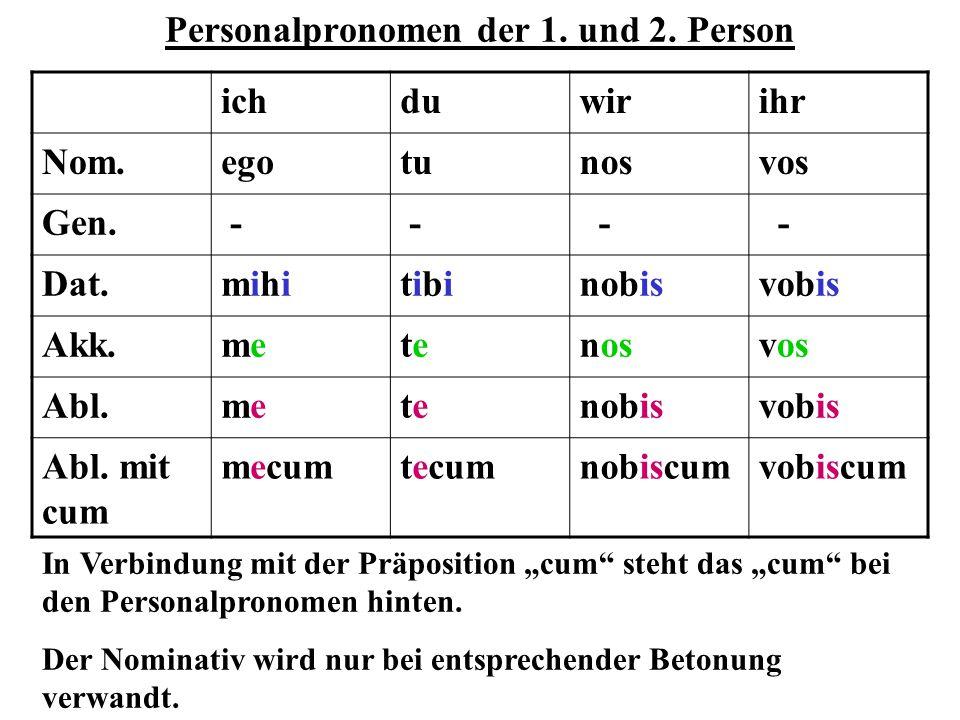 Personalpronomen der 1. und 2. Person