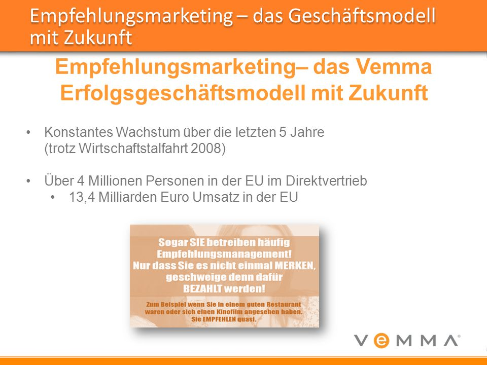 Empfehlungsmarketing– das Vemma Erfolgsgeschäftsmodell mit Zukunft