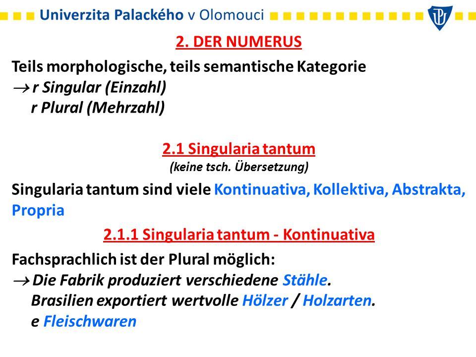 (keine tsch. Übersetzung) 2.1.1 Singularia tantum - Kontinuativa