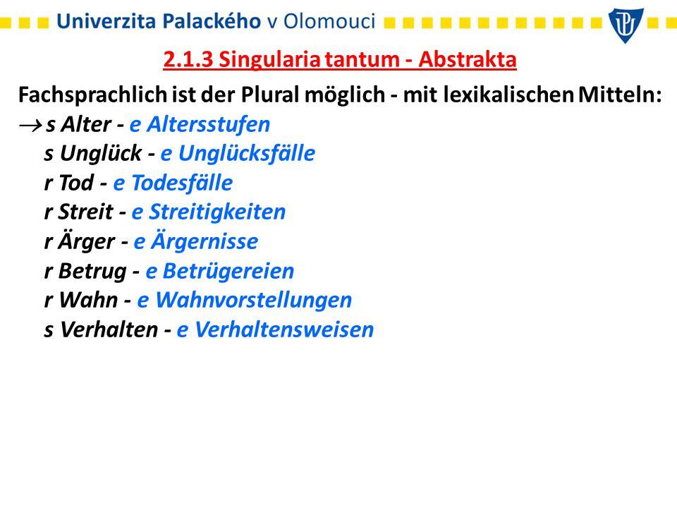 2.1.3 Singularia tantum - Abstrakta