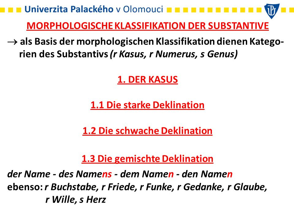 MORPHOLOGISCHE KLASSIFIKATION DER SUBSTANTIVE
