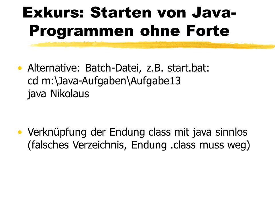 Exkurs: Starten von Java-Programmen ohne Forte