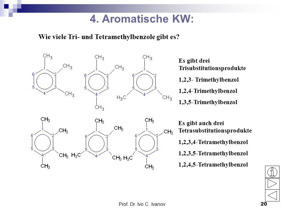 4. Aromatische KW: Wie viele Tri- und Tetramethylbenzole gibt es