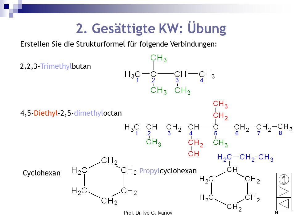 2. Gesättigte KW: Übung Erstellen Sie die Strukturformel für folgende Verbindungen: 2,2,3-Trimethylbutan.