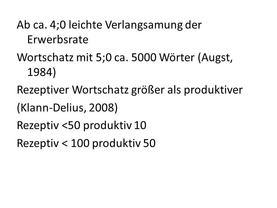 Ab ca. 4;0 leichte Verlangsamung der Erwerbsrate Wortschatz mit 5;0 ca