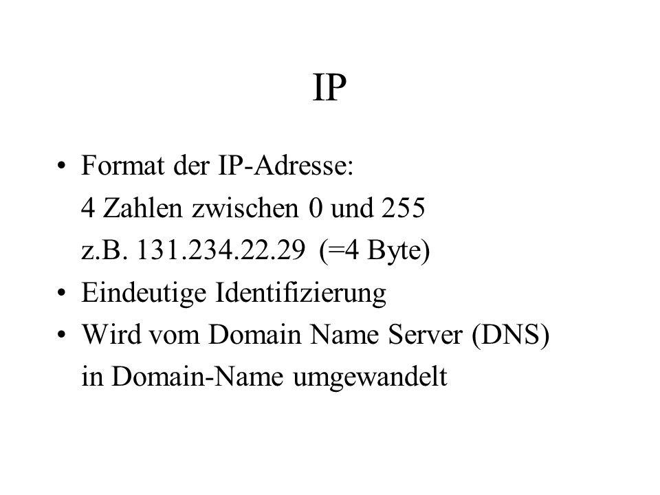 IP Format der IP-Adresse: 4 Zahlen zwischen 0 und 255