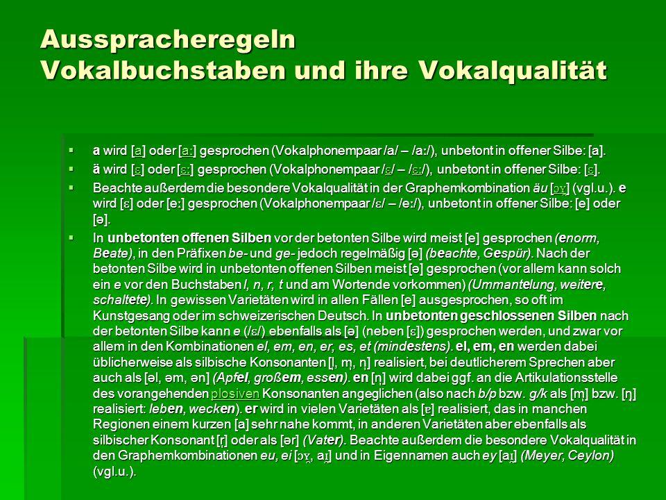 Ausspracheregeln Vokalbuchstaben und ihre Vokalqualität