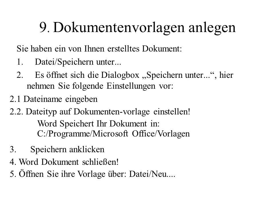 9. Dokumentenvorlagen anlegen
