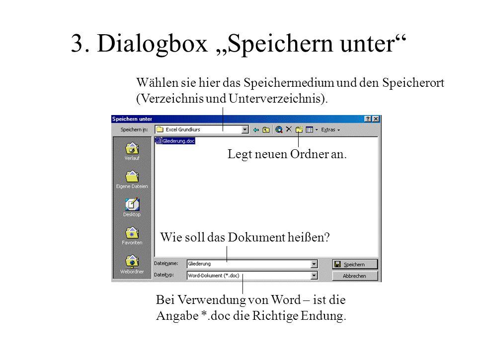 """3. Dialogbox """"Speichern unter"""