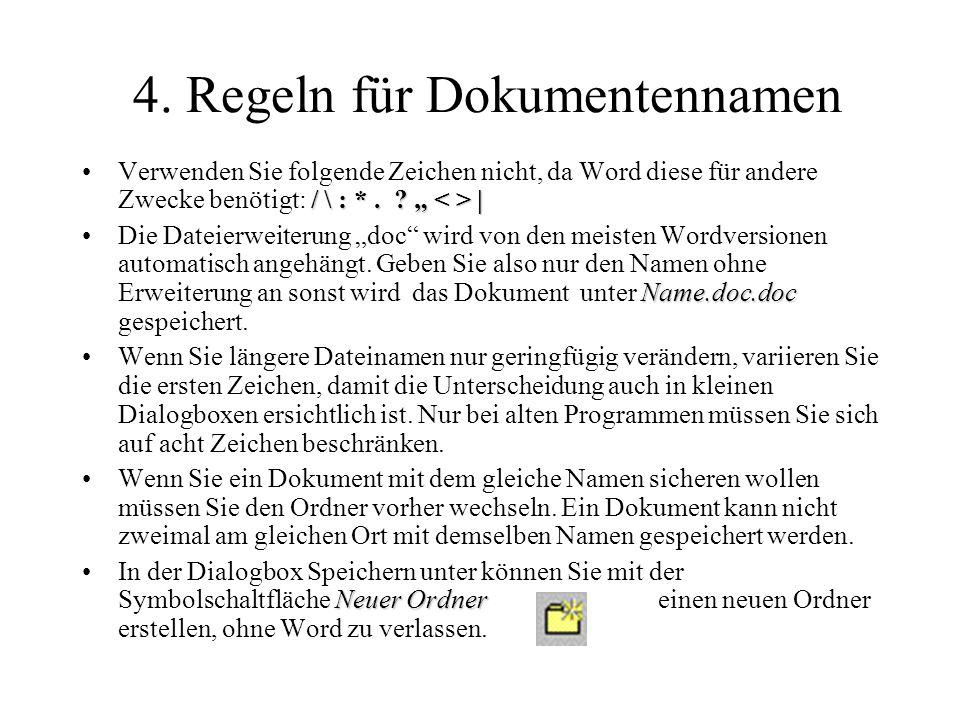 4. Regeln für Dokumentennamen