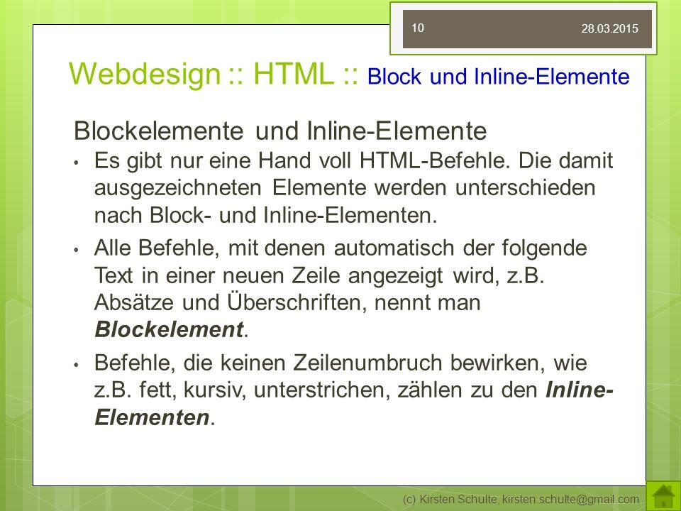 Webdesign :: HTML :: Block und Inline-Elemente