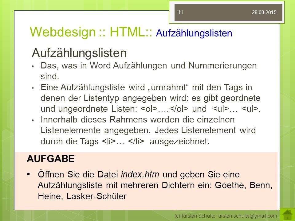 Webdesign :: HTML:: Aufzählungslisten
