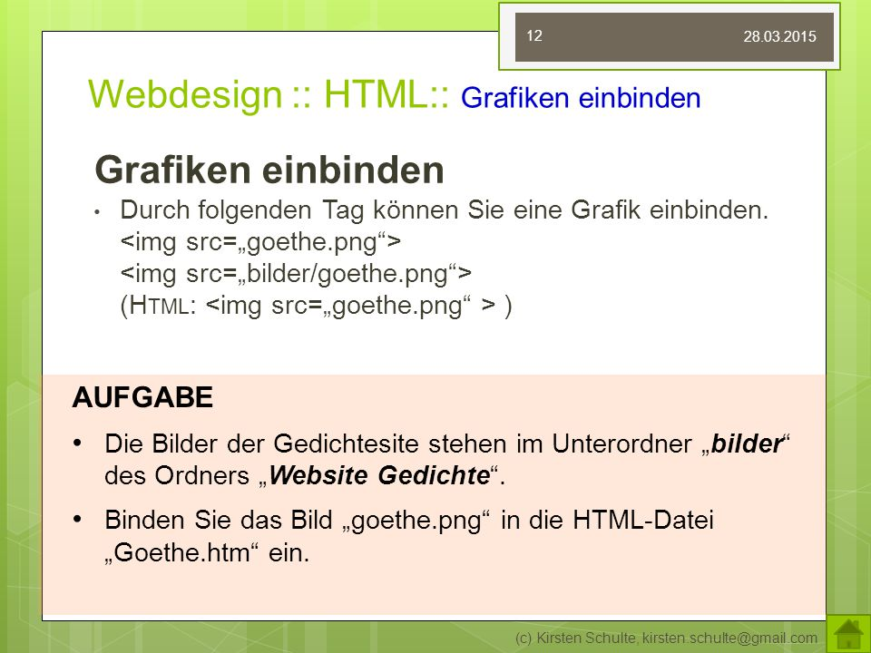 Webdesign :: HTML:: Grafiken einbinden