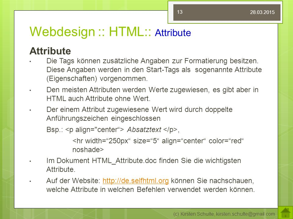 Webdesign :: HTML:: Attribute