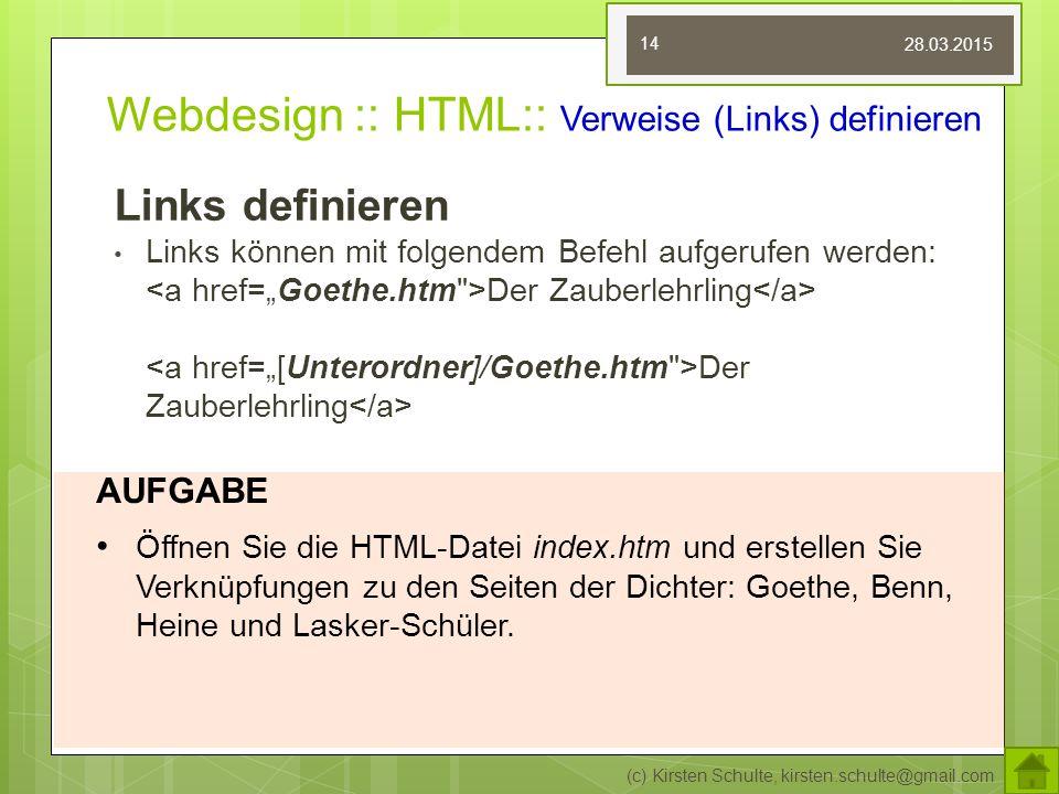 Webdesign :: HTML:: Verweise (Links) definieren