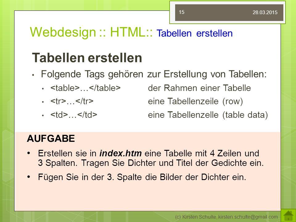 Webdesign :: HTML:: Tabellen erstellen