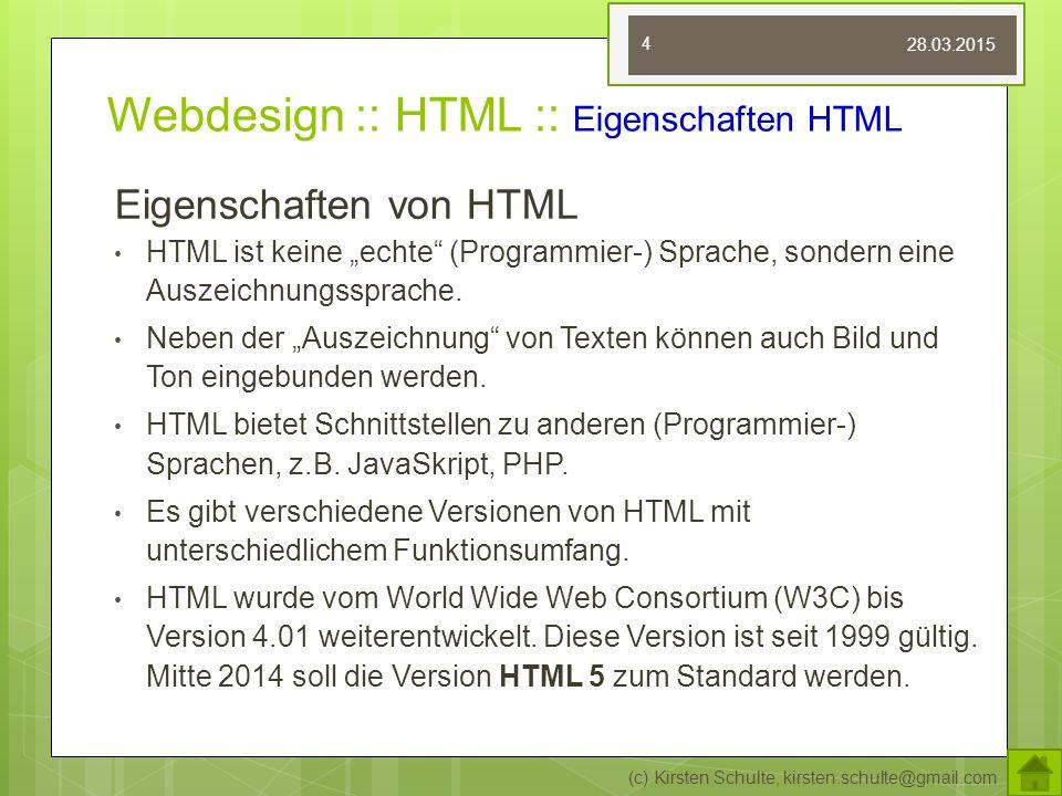 Webdesign :: HTML :: Eigenschaften HTML