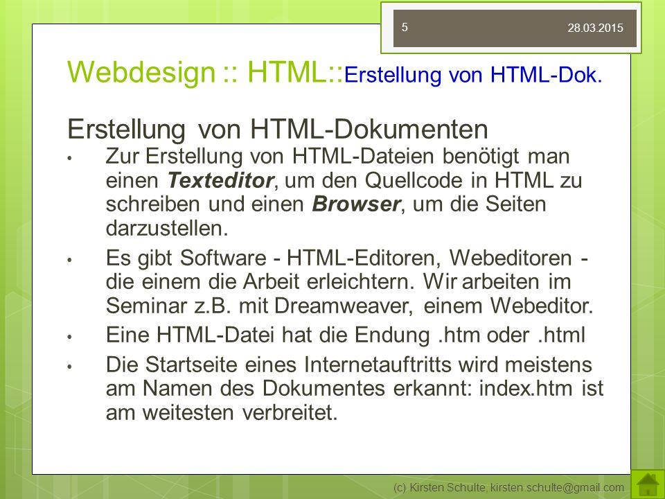 Webdesign :: HTML::Erstellung von HTML-Dok.
