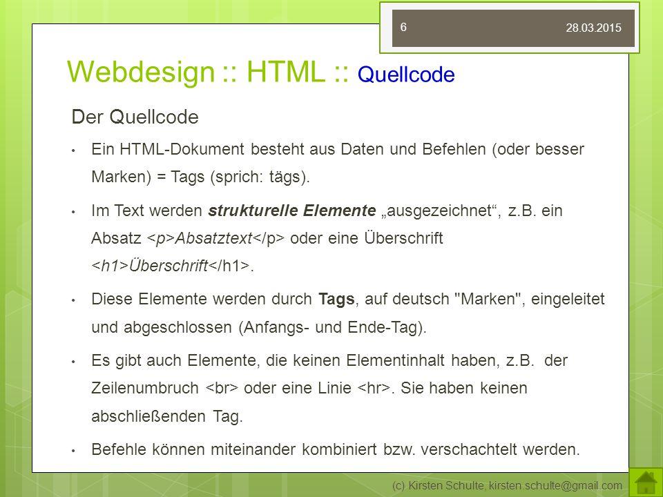 Webdesign :: HTML :: Quellcode