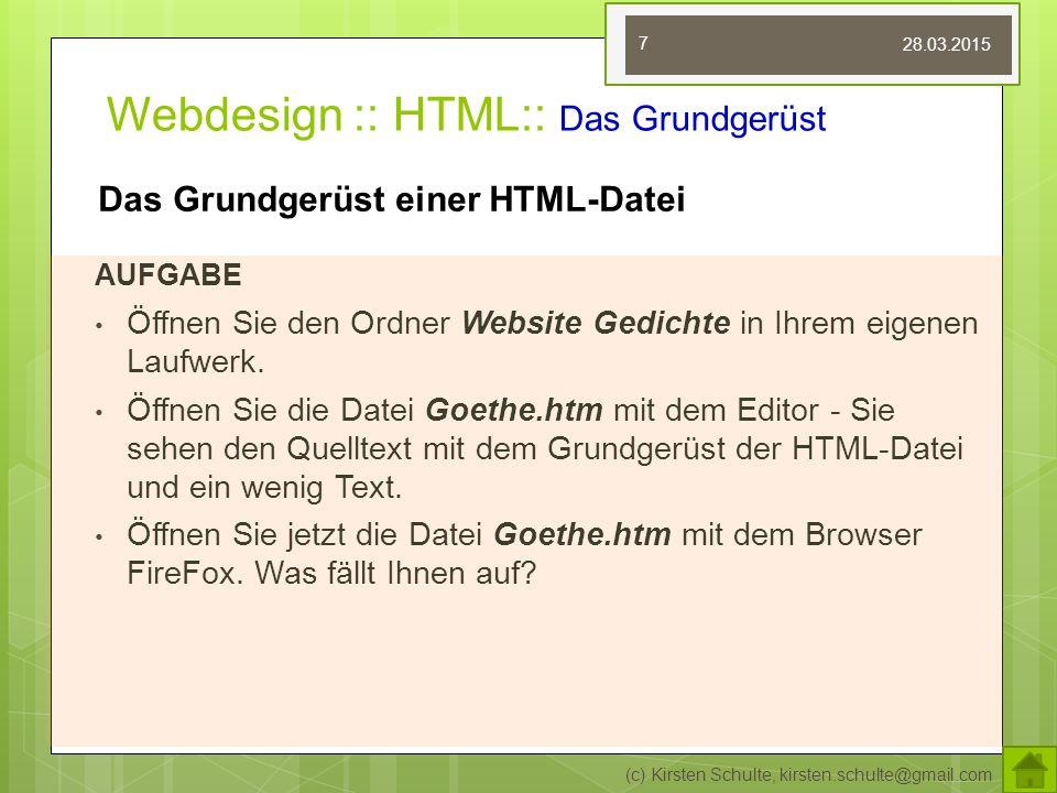 Webdesign :: HTML:: Das Grundgerüst