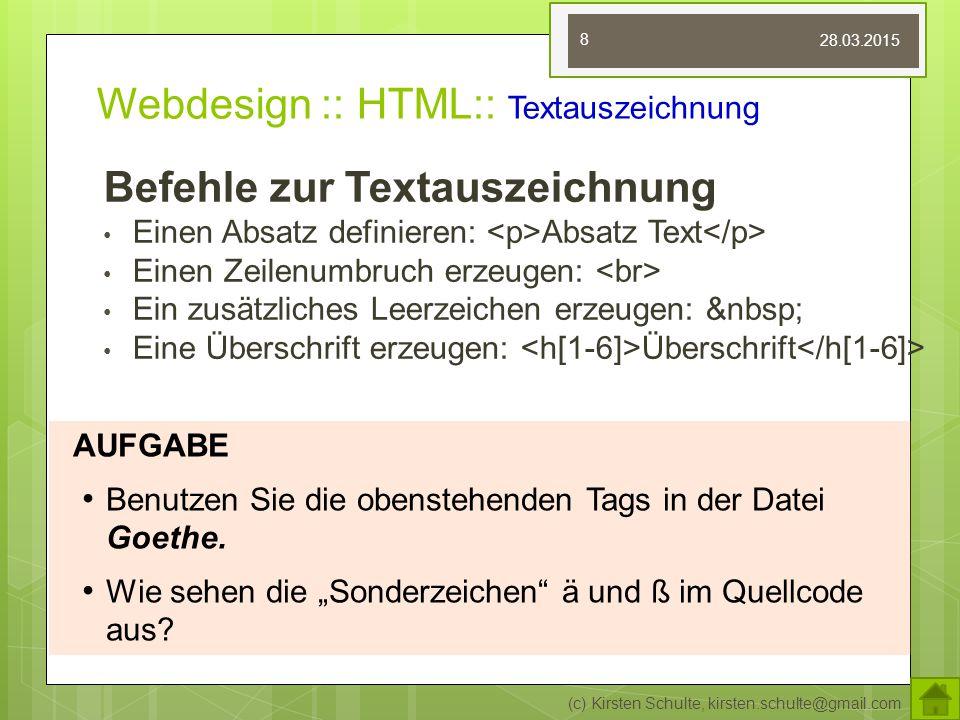 Webdesign :: HTML:: Textauszeichnung