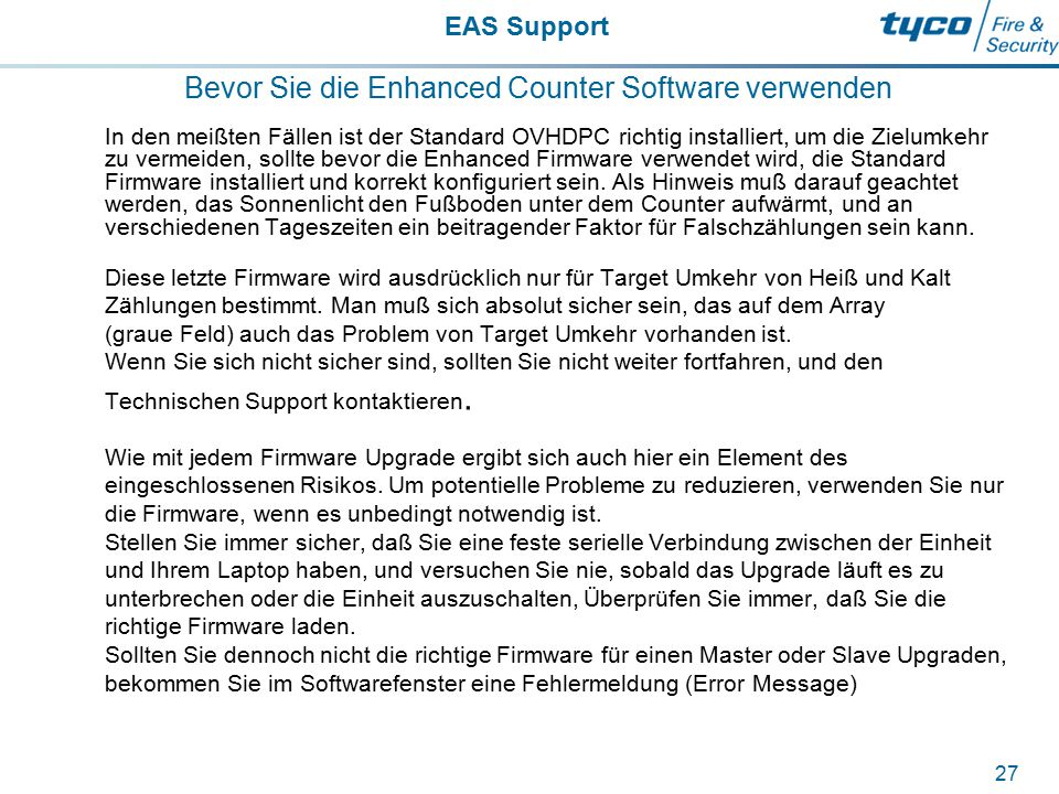 Bevor Sie die Enhanced Counter Software verwenden