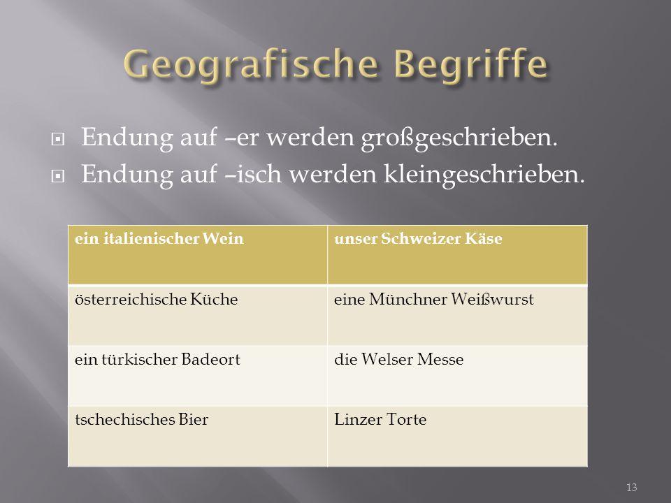Geografische Begriffe