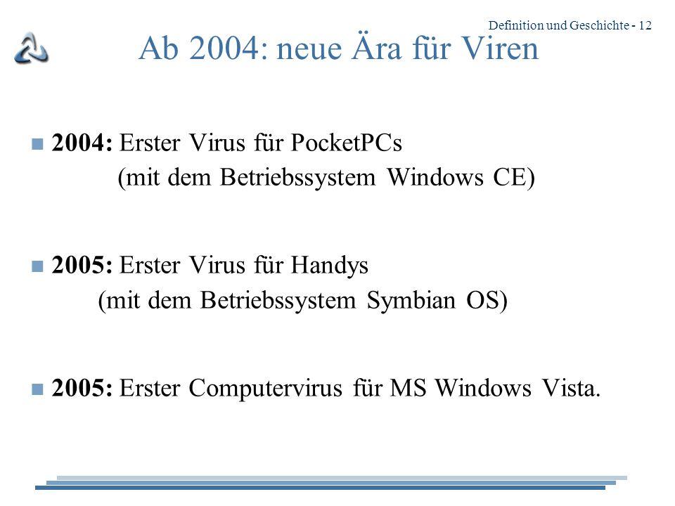 Ab 2004: neue Ära für Viren 2004: Erster Virus für PocketPCs (mit dem Betriebssystem Windows CE)