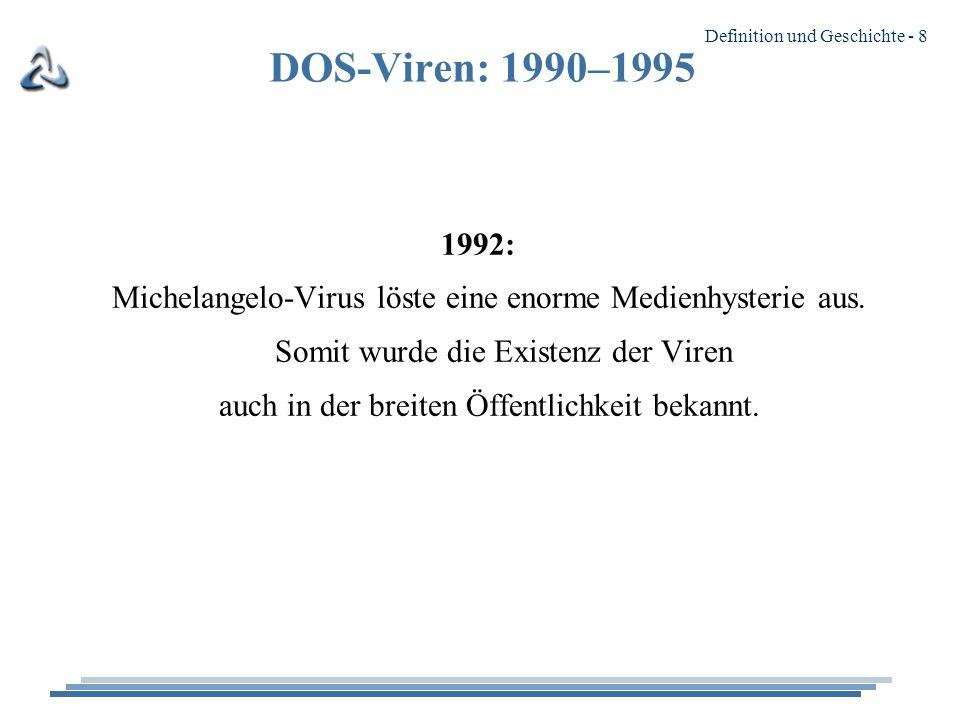 DOS-Viren: 1990–1995 1992: Michelangelo-Virus löste eine enorme Medienhysterie aus. Somit wurde die Existenz der Viren.