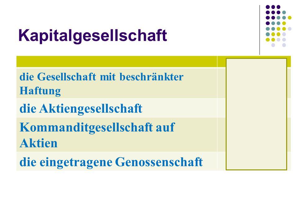 Kapitalgesellschaft GmbH die Aktiengesellschaft AG
