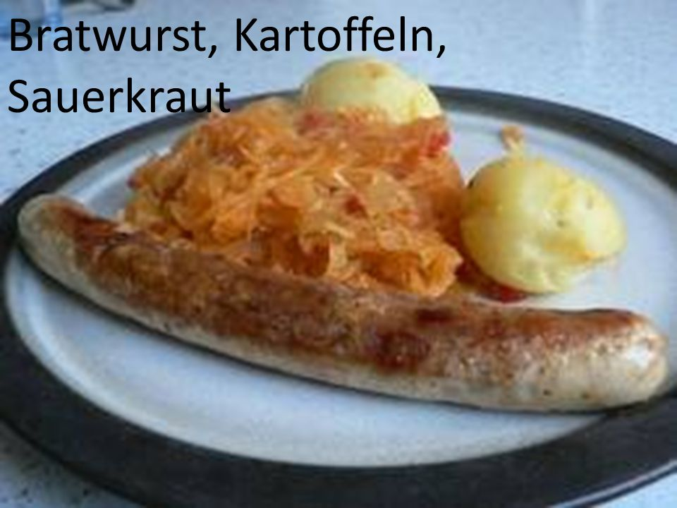 Bratwurst, Kartoffeln, Sauerkraut