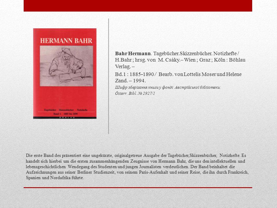 Bd.1 : 1885-1890 / Bearb. von Lottelis Moser und Helene Zand. – 1994.