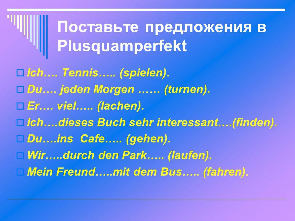 Поставьте предложения в Plusquamperfekt