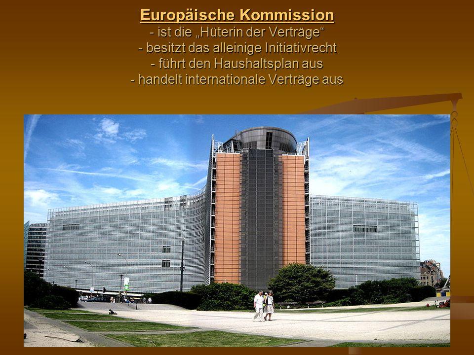 """Europäische Kommission - ist die """"Hüterin der Verträge - besitzt das alleinige Initiativrecht - führt den Haushaltsplan aus - handelt internationale Verträge aus"""