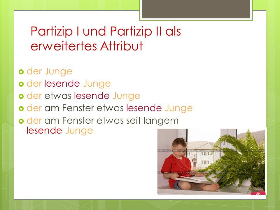 Partizip I und Partizip II als erweitertes Attribut