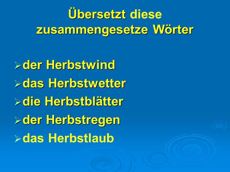 Übersetzt diese zusammengesetze Wörter